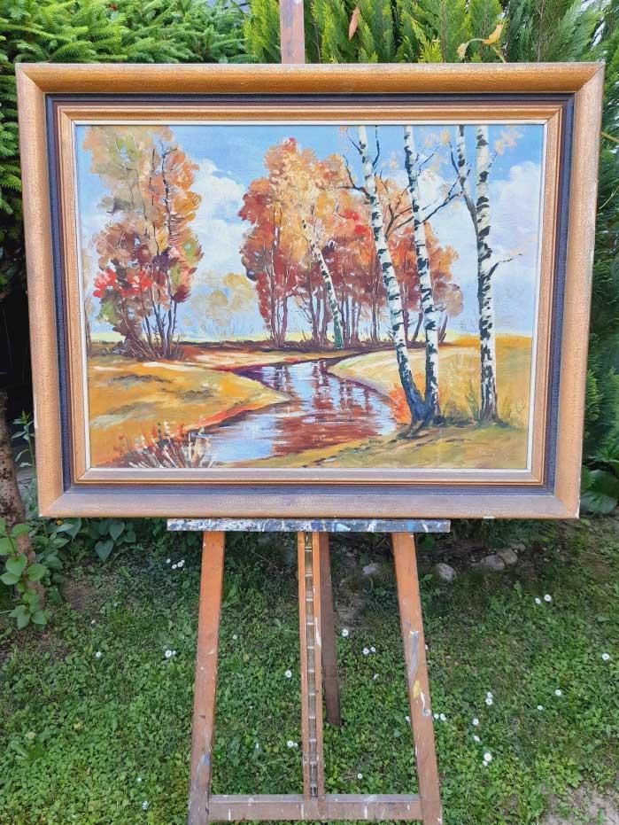 Krásny starožitný obraz Brezy pri rieke v celkovom rozmere s rámom 94 x 75 cm. Bez rámu 78 x 58 cm. Rám je originál. Autor podpísaný.