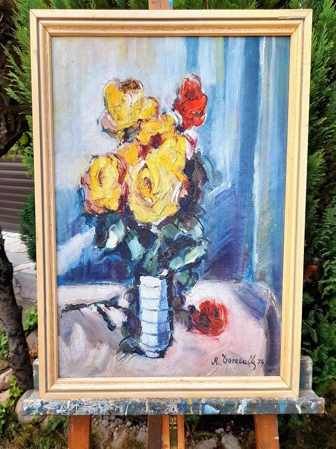 Tento obraz je výnimočný, aj keď na fotke to až tak nevidno, avšak naživo je to krásna báseň farieb, ktoré doslova rozprávajú z obrazu. Farby sú tak živé, že vás doslova vtiahnú do lupeňov každého kvetu, kde doslova cítite ich voňu. Obraz je originál v originál ráme v celkovom rozmere 54 x 44 cm a bez rámu 50 x 40 cm. Aj pri tomto obraze je možnosť prerámovania. Autor obrazu je podpísaný. Pre viac info o tomto umeleckom diele ma kontaktujte: 00421918251733