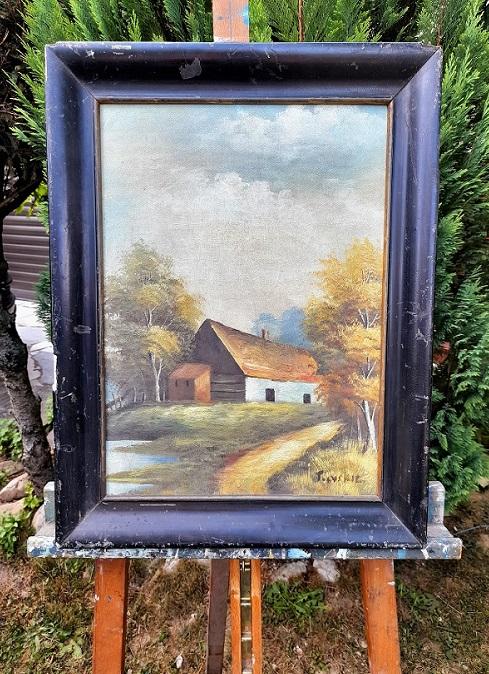 Starý secesný obraz chalupy na vidieku. Moc krásne spracovaná malba v originál ráme  o rozmere 57 x 42 cm a bez rámu 50 x 35 cm. Možnosť prerámovať podla požiadavky po dohode. Autor podpísaný. Pre viac info, nech sa páči, kontaktujte ma: 00421918251733