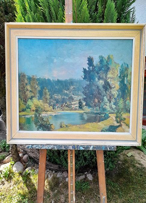 Krásny starožitný obraz v originálnom ráme Topoly pri rieke s jedinečnou atmosférou okolia.  Tento starožitný obraz má rozmer s rámom 75 x 55 cm a bez rámu 64 x 44 cm. Možnosť osadiť do nového rámu. Autor: Filutka. Pre viac info, nech sa pači, kontaktujte ma: 00421918251733