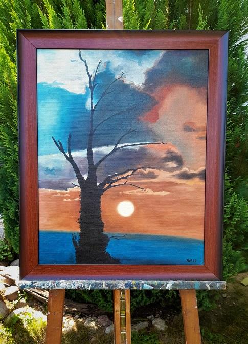 Moderný obraz západu slnka v novom ráme. Rozmer obrazu v ráme je 65 x 50 cm a bez rámu 58 x 42 cm. Autor podpísaný ako: RN77. Pre viac info ma kontaktujte: 00421918251733