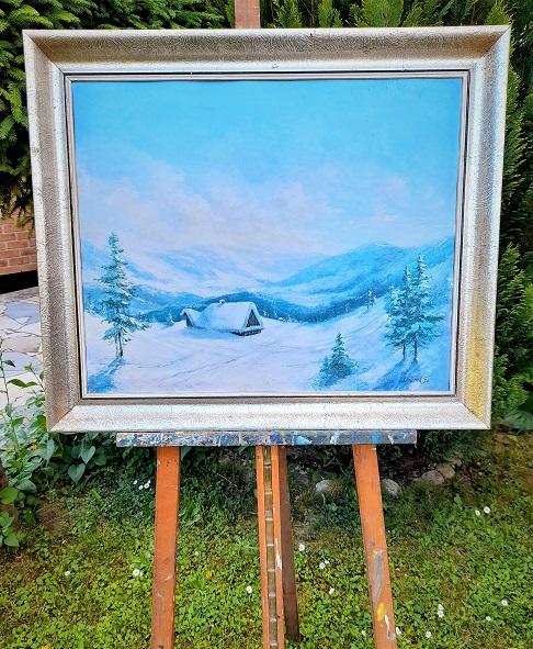 Krásne a jemne namalovaná zima s pohodovou energiou, ktorú autor dokázal preniesť na plátno. Celkový rozmer obrazu v originál ráme je 74 x 60 cm. Bez rámu 62 x 49 cm. Autor je podpísaný. Viac info : 0918251733