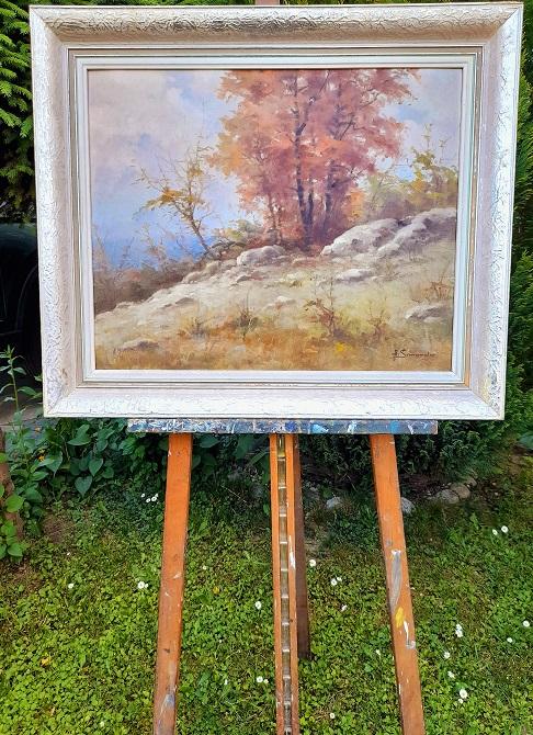 Krásne namaľovaný obraz prírody v originál ráme rozmeru 74 x 61 cm. Bez rámu 60 x 47 cm. S podpisom autora. Viac info: 0918251733